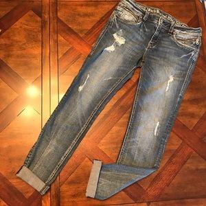 Rock Revival Moto Margot Distressed Skinny Jeans